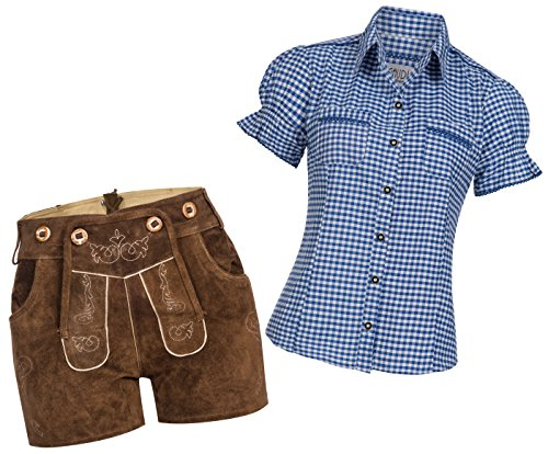 Gaudi-Leathers Pantalones cortos para mujer, color marrón claro azul y blanco a cuadros 42