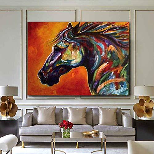 N / A Colorido Animal Caballo Lienzo Pintura Mural Imagen Sala de Estar Dormitorio decoración Moderna Pintura 40x60 cm Sin Marco
