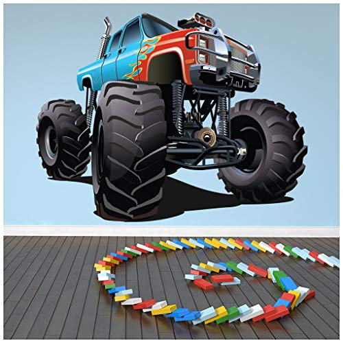 azutura Blau Red Monster Truck Wandtattoo kühlen Fahrzeug Wand Sticker Jungen Schlafzimmer Dekor Erhältlich in 8 Größen XX-Groß Digital