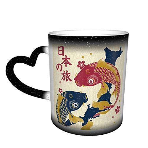 Dos carpas en el mapa de Japón Starry Sky Taza de cerámica mágica de café que cambia de color, un regalo novedoso e interesante para el día de San Valentín, 11 oz
