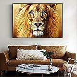Acuarela dorado León africano Tigre arte lienzo impreso pintura animales salvajes cuadro de pared sala de estar decoración del hogar póster 40x60 CM (sin marco)