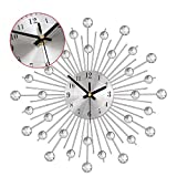 ALLOMN Crystal Wall Clock Metal Silver Starburst Wall Decor Clock Battery Operated Modern Diamonds Hanging Clock for Living Room Bedroom Festival Gift