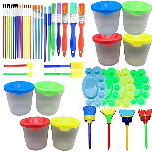Fycooler 46Pcs No Spill Paint Cups Set with Lids and Paint Brushes,Palette Tray Multi Sizes Paint Pen Brushes Kit for Toddler/Kids Gifts School Prizes Art Party Watercolor Graffiti Art Class Painting