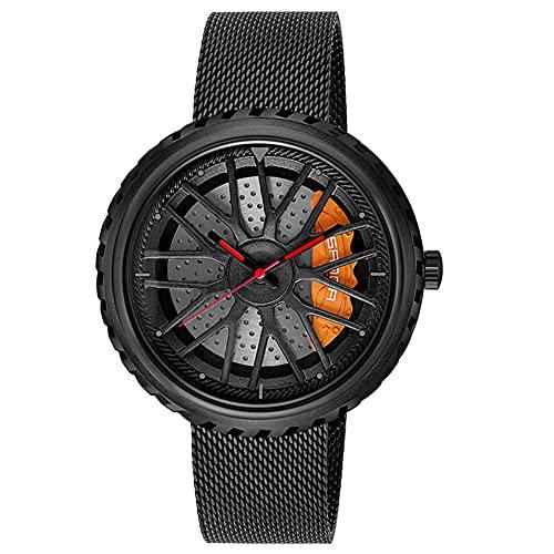 STST Reloj de Cuarzo para Hombre Relojes de Ruedas de Coche Reloj Nuevo Impermeable,Negro