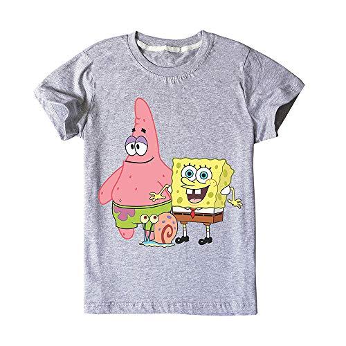 Spongebob Squarepants T-Shirt Modischer Entwurf T-Shirt Trendy Beiläufiges T-Shirt Komfortabel kurzärmelige T-Shirt for Jungen und Mädchen für Jungen und Mädchen (Color : Gray01, Size : 140)