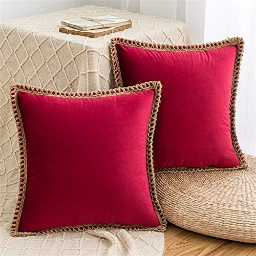 HAUSEIN Juego de 2 fundas de cojín de terciopelo de estilo pastoral, de un solo color, funda de cojín decorativa, suave y cómoda, para salón, dormitorio, sofá, 45 x 45 cm, color rojo vino