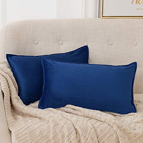 Deconovo Fundas para Cojines de Almohada del Sofá Cubierta Suave Decorativa Protector para Hogar 30 x 50 cm 2 Piezas Azul Marino