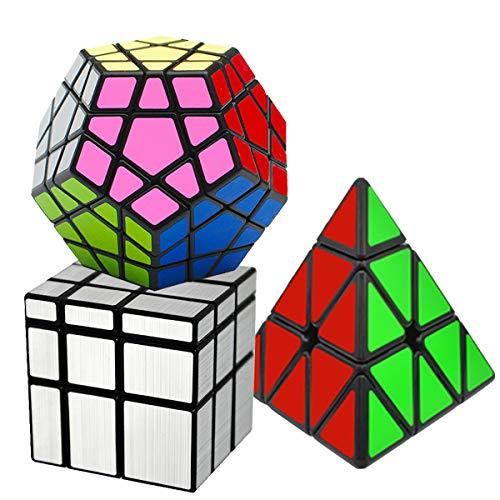 EASEHOME Speed Magic Puzzle Cube Megaminx + Pyraminx + Espejo in Giftbox, 3 Pack Rompecabezas Cubo Mágico PVC Pegatina para Niños y Adultos, Negro