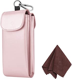 Fintie Double Glasses Case with Carabiner Hook, Portable Vegan Leather Eyeglass Case Anti-scratch Sunglasses Pouch