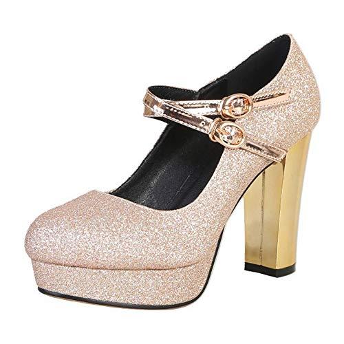 BeiaMina Damen Schuhe Mode High Heel Party Schuhe Blockabsatz Schuhe Abendschuhe Glitzer Gold Gr 34 Asiatisch