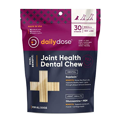 dailydose Dual Benefit - Dental + Joint Health Chews for Dogs, Small | Dental Treats with Supplements (77111)