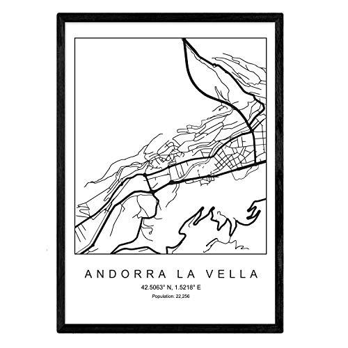 Nacnic Lámina Mapa de la Ciudad Andorra la Vella Estilo nordico en Blanco y Negro. Poster tamaño A3 Sin Marco Impreso Papel 250 gr. Cuadros, láminas y Posters para Salon y Dormitorio