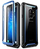 i-Blason Case for Galaxy S9 2018 Release, Ares Full-body Rugged Clear Bumper Case with Built-in Screen Protector (Black/Blue)