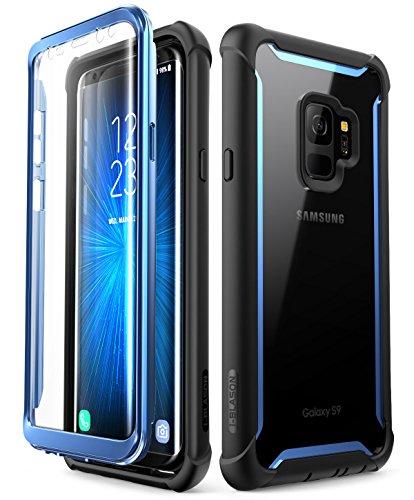 i-Blason Samsung Galaxy S9 Hülle Ares Bumper Case 360 Grad Handyhülle Robust Schutzhülle Clear Cover mit integriertem Displayschutz, Schwarz/Blau