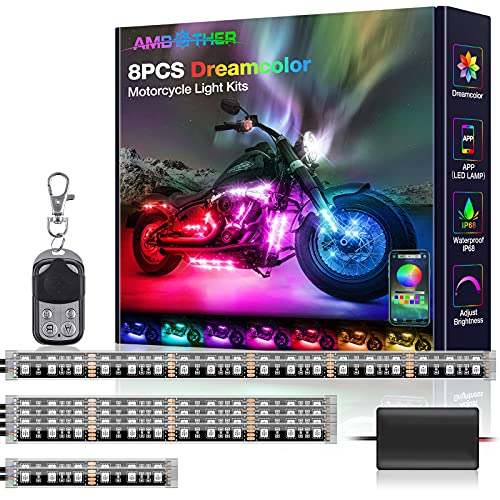 AMBOTHER Motorcycle LED Light Kits 8pcs Rainbow Chasing Effect APP/RF Remote Control DC 12-Volt IP68 Waterproof Music Modes Dreamcolor with Adhesives Clips for Motorcycles Trikes Golf Carts
