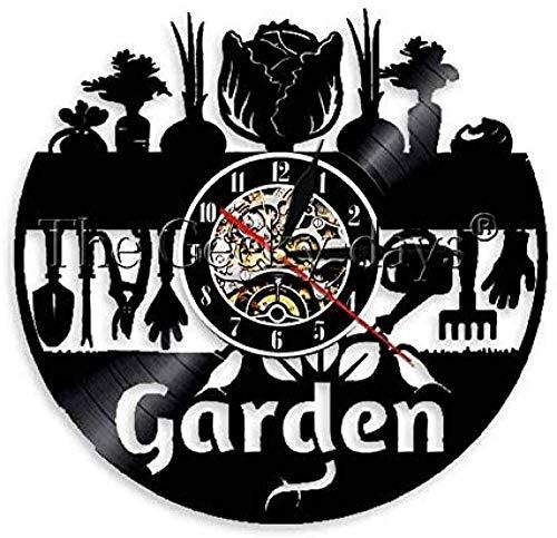 Vinyl Wanduhr Gartengeräte Dekoration Glocke Blume Vinyl Schallplatte Wanduhr Retro Blumengeschenke für Gärtner