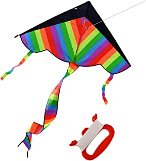 GIFT Rainbow Kite for Kids, Girls, Boys, Toddlers - Most Popular Outdoor Toys, Huge Kite with 50m/164 Feet Flying Line