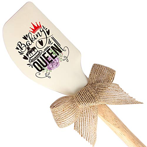 THREE HUMAN Bake Queen Funny Silicone Spatula, Funny Baking Tool, Modern Farmhouse Kitchen Decor, Gift for Chef, Sister, Mom, Pastry Chef, Friends