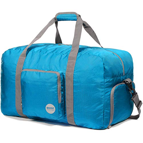 Foldable Duffle Bag 60L, Super Lightweight Travel Duffel for Luggage Sports Gym Water Resistant Nylon by WANDF