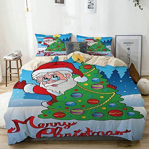 Juego de Funda nórdica Beige, Estampado de árbol nevado de árbol Festivo de Papá Noel, Juego de Cama Decorativo de 3 Piezas con 2 Fundas de Almohada fácil Cuidado antialérgico Suave Suave