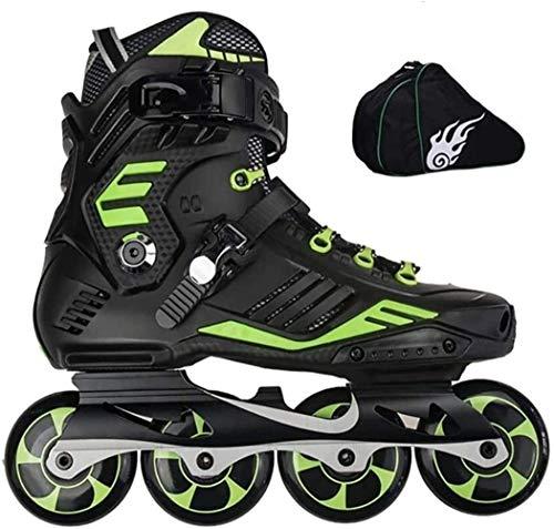 CAIFENG Verstellbare Inline Skates Speed-Inline Skates Carbon Fiber Professionelle Luxation Blatt Schlittschuhe 4 Wheels Racing Skating Patines, Größe: EU 35US 4UK 3JP 22,5 cm, Farbe: Schwarz C