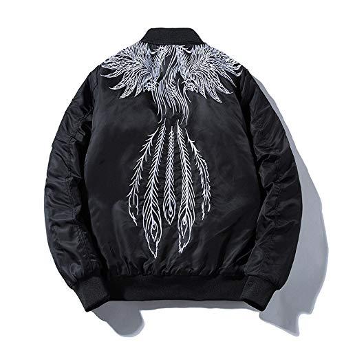 Qier Bomber Jackets,Mens Pilot Flight Jacket,Phoenix Wing Feather Embroidery White Classic Motorcycle Coats,Harajuku Windbreaker Hip Hop Streetwear Spring Autumn Youth,L