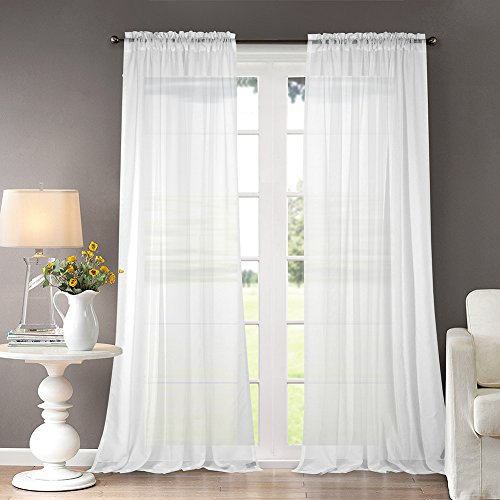 "Dreaming Casa Solid Sheer Curtains Draperies White Rod Pocket 2 Panels 52"" W x 96"" L"