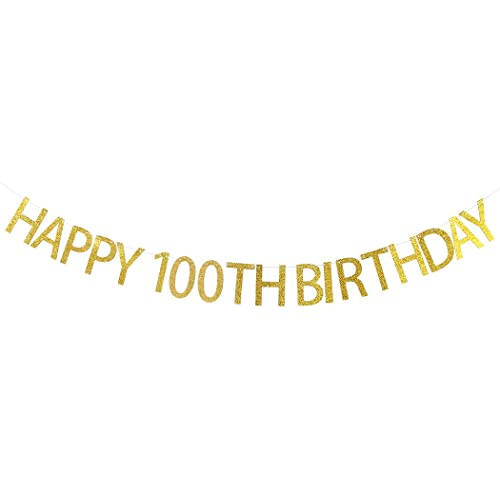 WeBenison Happy 100th Birthday Banner Gold Glitter Party Bunting