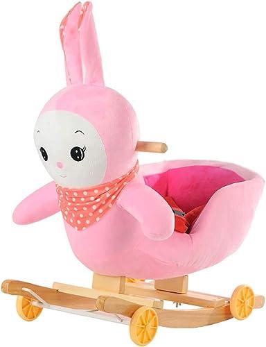 Kind Schaukelpferd PlüSch Kaninchen Musical GefüLlte 2 In 1 Rosa Mit Rad FüR Spielzeug Holz Tierfürt FüR Jungen mädchen (FüR 1-6 Jahre Alt)