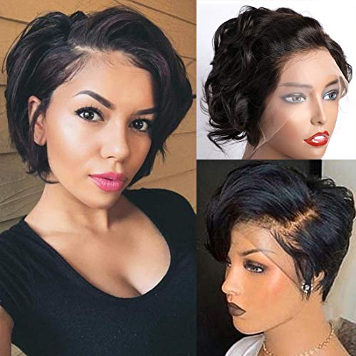 13x4 Lace front Wigs Human Hair,MSGEM Pixie Cut Wigs Short Bob Wigs for Black Women 6 inch Loose Wig150% Density Brazilian Virgin Human Hair with Pre Plucked Haircuts Natural Hairline