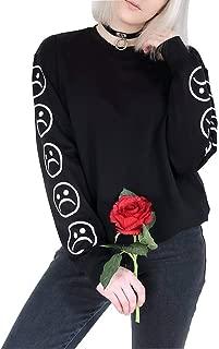 Women Sad Faces Emoticon Emoji Print Crew Neck Tumblr Sweatshirt Hoodie Pullover