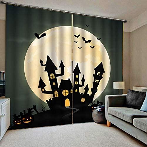 JMHomeDecor Cortinas Opacas De Halloween Horror Castle Bat Moon 3D Tela De...