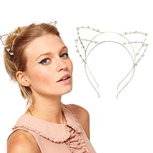 DRESHOW Rhinestone Cat Ears Headbands Kitty Crystal Hair Band for Girls and Women Pack of 2 Silver Gold Rhinestone Gold Sliver One Size