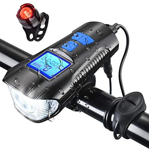 AOPOY Luz Bicicleta USB Recargable, Luces Bicicleta USB Delantera y Trasera 600 Lúmenes 1500 mAh, 4 Modos, Super Brillante IPX65 Impermeable Set Luces Bici, Luz LED Bicicleta para Carretera y Montaña
