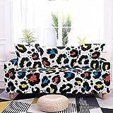 Funda Sofa Elasticas Estampado de leopardo blanco y negro Impresa Cubre Sofa Estampadas Funda de sofá Antideslizante Fundas de Sofa Ajustables Fundas Protector Lavable Con fondo elástico145-185 cm