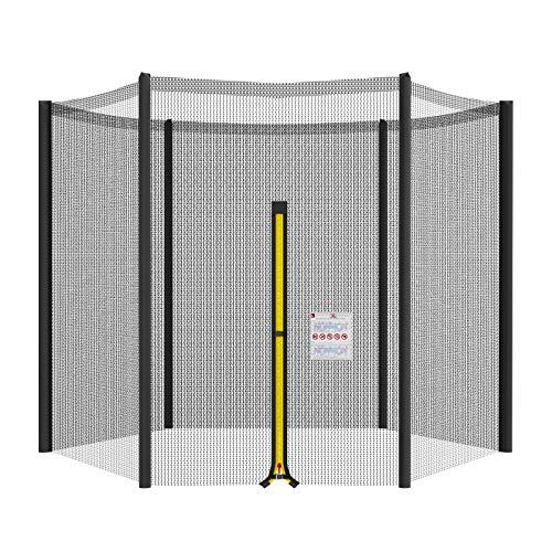 NONMON Trampolin Netz Ersatz,305 cm Sicherheitsnetz für 10ft Gartentrampolin mit 6 Stangens,UV Beständig Reißfest Rundes Schutznetz Fangnetz mit Reißverschluss und Schnallen,Nur Gehäuse Schwarz