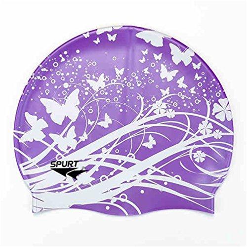 Moolecole Mode Damen Wasserdicht Silikon Badekappen Weiche Schwimmen/Baden/Schlaf Kappe Schwimmkappe Haarpflege Swim Cap Lila Schmetterling