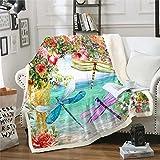Loussiesd Manta de sherpa de libélula, colorida y floral, para decoración de sofá, cama, decoración de libélula, manta de felpa, para jardín, flores brillantes, para cama doble, 60 x 79 pulgadas