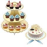 EQLEF Torre Cupcakes Carton Kit, Apricot 3 Tier Soporte Cupcakes y Blue 1 Capa Cake Stand Soporte para Tartas para niñas niños Adultos en cumpleaños Boda Baby Show Party (Paquete de 2 Juegos)