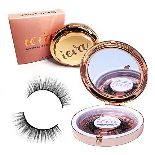 Ieva's Maquillage de luxe faux cils en vison avec étui de luxe et miroir No.04 \