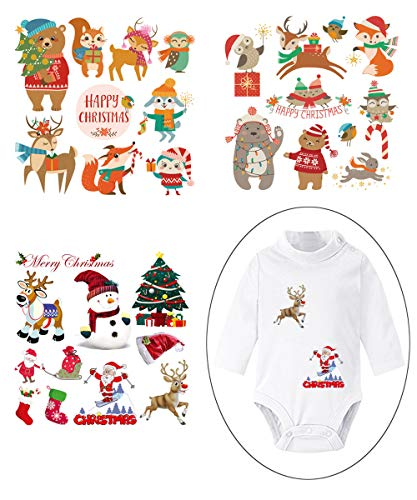Christmas Iron On Stickers Patches for Kids Heat Transfer Appliques with Christmas Animals Motif Washable Decor for Baby Dress,Adult Dress