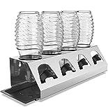 SodaClean® Premium Lot de égouttoirs en acier inoxydable avec bac d'égouttoir - pour 4 bouteilles SodaStream - Passe au lave-vaisselle - Égouttoir avec support de couvercle - Crystal Easy Power