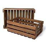Park Alley Holzkiste für Obst und Gemüse | 2er Set | Aufbewahrungskisten aus FSC 100% Akazienholz geölt | Kiste für den Garten, Apfelkiste oder Kartoffelkiste brauchbar in natur