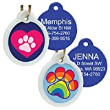 GoTags Unique Pet Tags, Personalized with 4 Lines of Custom Engraved ID, Silent Dog Tags with Glow in The Dark Silencer to Quiet Tag, Several Cute Tag Designs for Cat or Dog, (Heart with Paw)