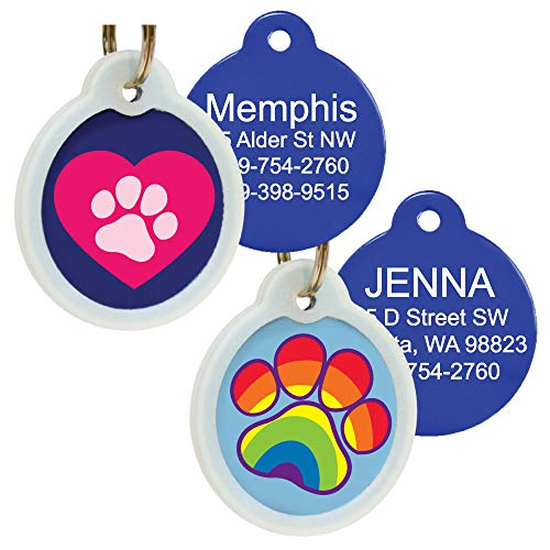 GoTags Unique Pet Tags, Personalized with 4 Lines of Custom Engraved ID, Silent Dog Tags with Glow in The Dark Silencer to Quiet Tag, Several Cute Tag Designs for Cat or Dog, (Rainbow Paw)