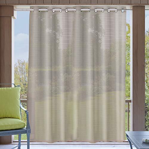 Clothink Outdoor Vorhang 254x305cm mit Ösen Transparent Grau(1 Stück)- mit Raffhalter - Wasserabweisend Schmutzabweisend Blickdicht Sonnenschutz Sichtschutz für Veranda Terrasse Balkon