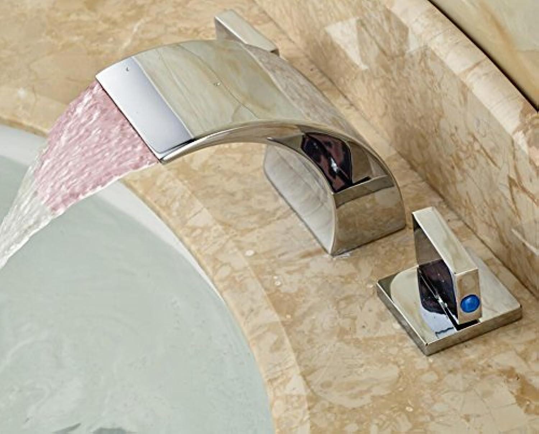 Brandneue Messing Licht Waschbecken Wasserhahn Deck Mount Led-Hhne mit zwei quadratischen Griff 3 Lcher
