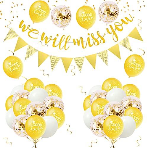 Wir Werden Dich Vermissen Banner Party Dekorationen mit Luftballons Viel Glück Abschieds Geschenk Gold Glitzer Banner Konfetti Ballons Dreieck Flagge Banner für Ruhestand Absolvent Kollegin Jobwechsel