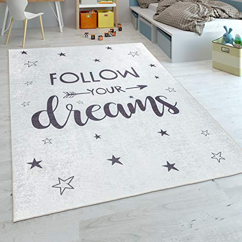 Alfombra Infantil, Tejido Plano para Habitación Infantil, con Frase Estampada Y Estrellas, Blanco, tamaño:120x160 cm