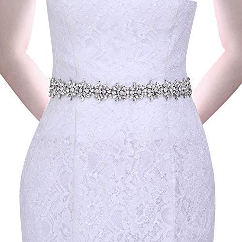 Top Queen Women's Crystal Diamond Bridal Belt Sashes Wedding Belts Sash for Wedding, Black, One Size